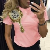 Precioso Ocio O Cuello Manga Corta Bordado Rosa Camiseta De Algodón