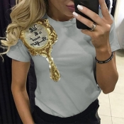 Lovely Leisure O Neck Short Sleeves Embroidered Grey Cotton T-shirt