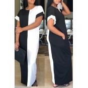 Lovely Fashion Round Neck Black+White Patchwork Co
