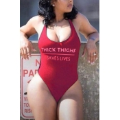 Lovely Trendy U Neck Letter Printed Wine Red Nylon One-piece Swimwears