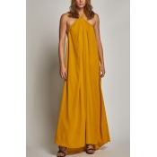 Lovely Bohemian Halter Neck Backless Yellow Rayon