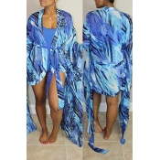 Lovely Sexy U Neck Printing Blue Polyester One-piece Swimwears(With Cover-Ups)