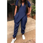 Lovely Chic V Neck Short Sleeves Blue Polyester One-piece Jumpsuits
