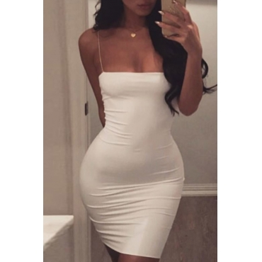 Lovely Sexy Spaghetti Strap Sleeveless White Polyester Sheath Mini Dress
