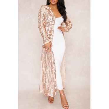 Lovely Stylish See-Through Sequins Decoration Apricot Polyester Long Coat(Only Coat)