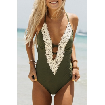 Lovely Trendy Backless Lace Patchwork Green Polyester One-piece Swimwears