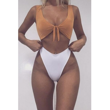 Lovely Sexy Knot Design Yellow Polyester Two-piece Swimwears