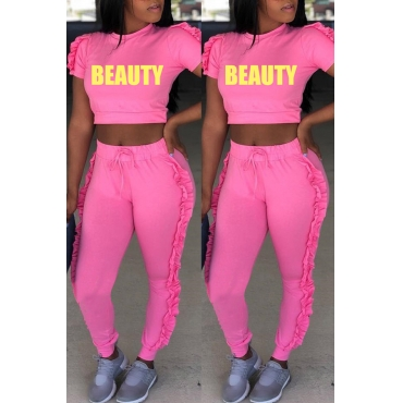 Lovely Casual Round Fold Design Pink Polyester Two-piece Pants Set