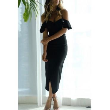 Encantador Sexy Con Cuello En V Hendidura Hendidura Dobladillo Negro Poliéster Vestido De Media Pantorrilla