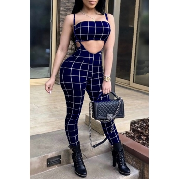 Lovely Sexy Bateau Neck Striped Blue Twilled Satin Two-Piece Pants Set