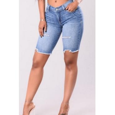 Lovely Trendy High Waist Rough Selvedge Baby Blue Denim Zipped Shorts