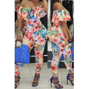 Lovely Sexy Bateau Neck Flounce Floral Printed Orange Qmilch One-piece Jumpsuits