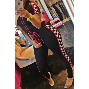 Lovely  Fashion Hooded Collar Plaid Printed Black Polyester Two-Piece Pants Set