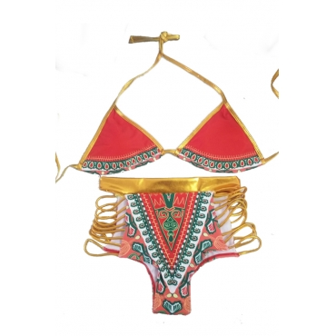 Lovely Sexy Lace-up Hollow-out Printing Red Polyester Two-piece Swimwears