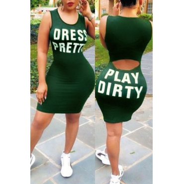 Lovely Leisure Round Neck Letters Printed Green Healthy Fabric Sheath Mini Dress