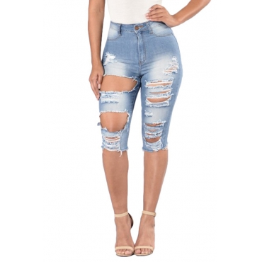 Lovely Trendy High Waist Broken Holes Baby Blue Denim Shorts