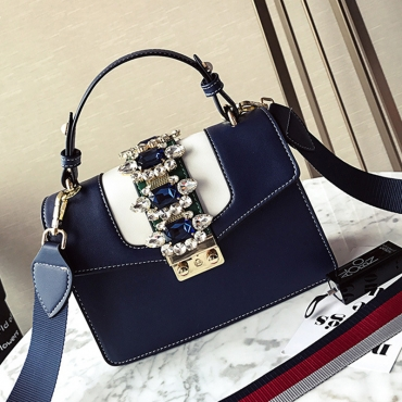 Lovely Fashion Diamante Decorative Blue PU Crossbody Bag
