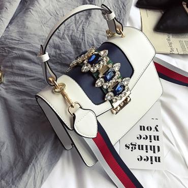 Lovely Fashion Diamante Decorative White PU Crossbody Bag