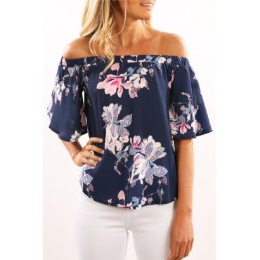 Lovely Trendy Bateau Neck Flared Sleeves Floral Printed Dark Blue Blending Shirts