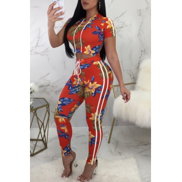 Lovely Casual Hooded Collar Floral Printed Orange-Red Polyester Two-Piece Pants Set