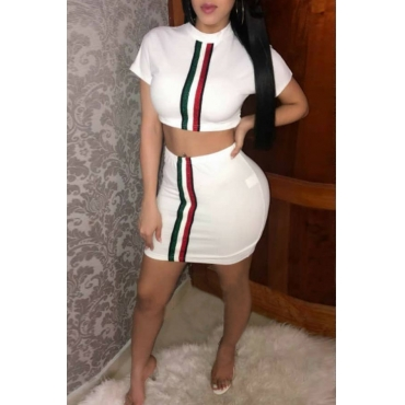 Lovely Sexy Round Neck Striped White Polyester Two-piece Skirt Set