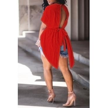 Cuello Redondo De Moda Encantador Diseño Irregular Cordón Rojo Camisas De Algodón