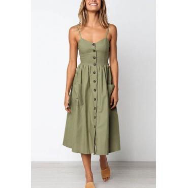 Lovely Fashion Spaghetti Strap Sleeveless Single Breasted Army Green Blending Mid Calf Dress