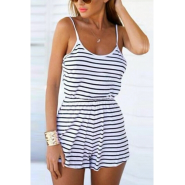 Lovely Fashion U Neck Striped White Cotton Blends One-piece Short Jumpsuits