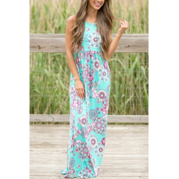 Lovely Fashion Round Neck Non Positioning Printing Green Blending Floor Length Dress