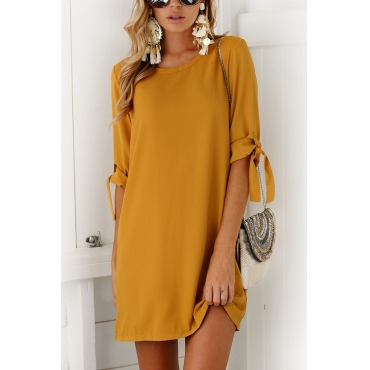 Lovely Casual Round Neck Half Sleeves Yellow Polyester Mini Dress