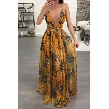 Lovely Sexy V Neck Printed Orange Chiffon Floor length Dress