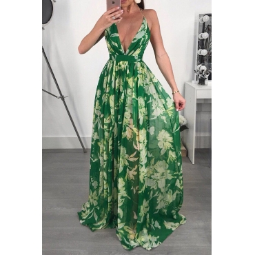 Lovely Sexy V Neck Printed Green Chiffon Floor length Dress
