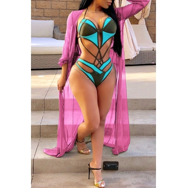 Lovely Fashion Long Sleeves See-Through Pink Polyester Cover-Ups(With Belt)