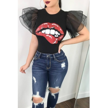 Lovely Fashion Round Neck Ruffle Sleeves Cartoon Printed Black Polyester T-shirt