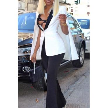 Lovely Trendy Turndown Collar Cloak Design White Polyester Suits