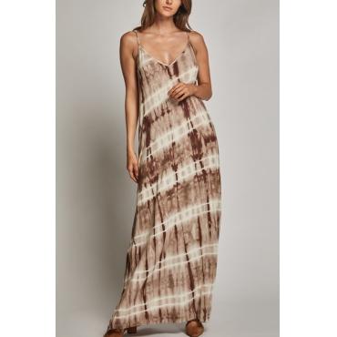 Lovely Chic V Neck Striped Printing Cotton Blend Ankle Length Dress