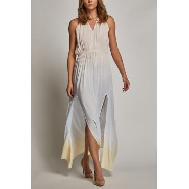 Lovely Bohemian V Neck Side Slit Color Gradient Printed Cotton Ankle Length Dress