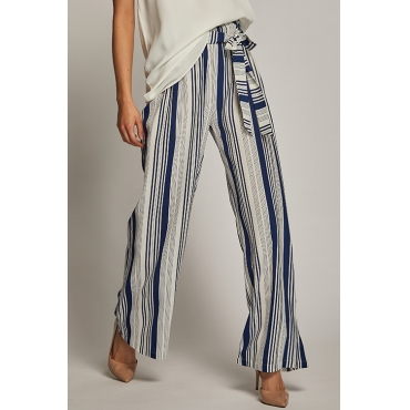 Lovely Fashion High Elastic Waist Striped Dark Blue Rayon Pants