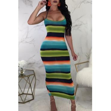 Lovely Sexy Spaghetti Strap Sleeveless Striped Cotton Blend Ankle Length Dress