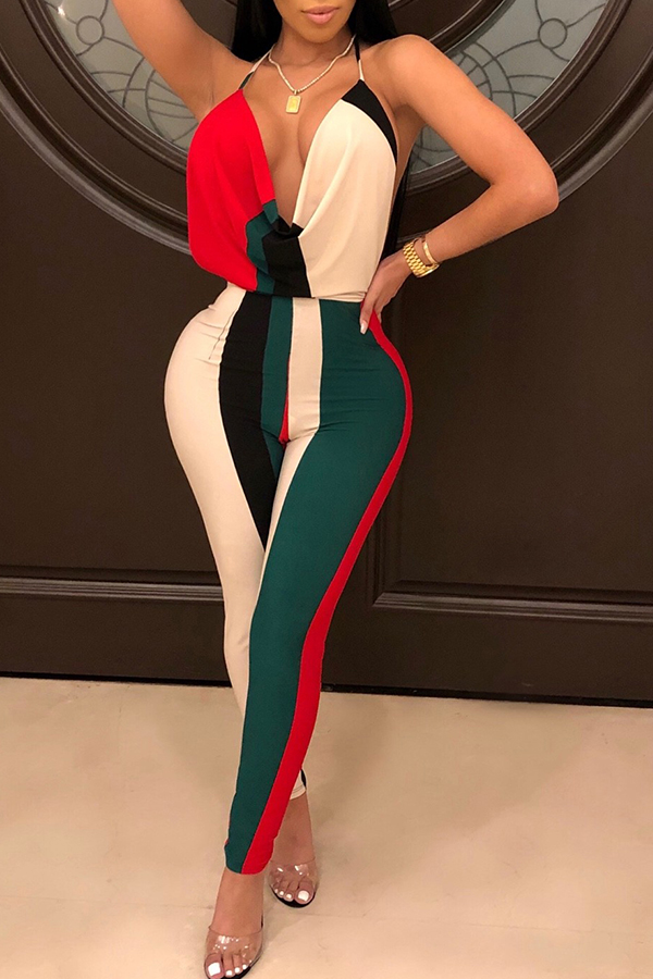 Lovely Chic V Neck Backless Striped Red Polyester One-piece Jumpsuits