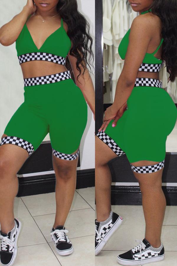 Precioso Plaid Cuello En V Sexy Estampado Pantalones Cortos De Dos Piezas De Poliéster Verde Conjunto