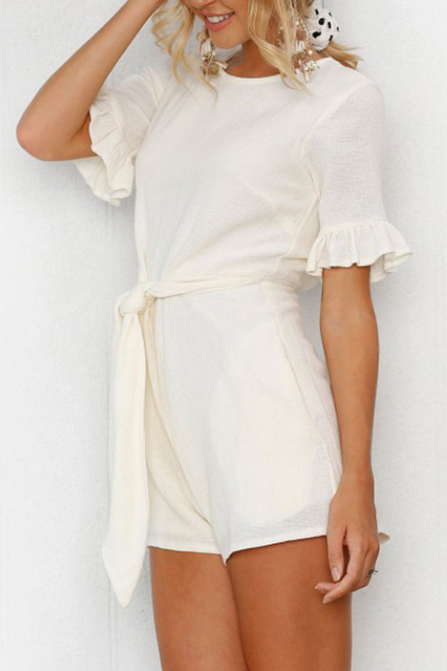 Lovely Pretty Round Neck Bandage White Polyester One-piece Short Jumpsuits