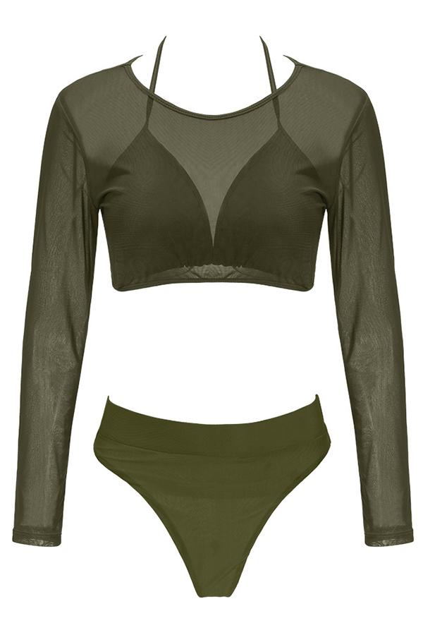 Lovely Euramerican Army Green Polyester Three-piece Swimwear