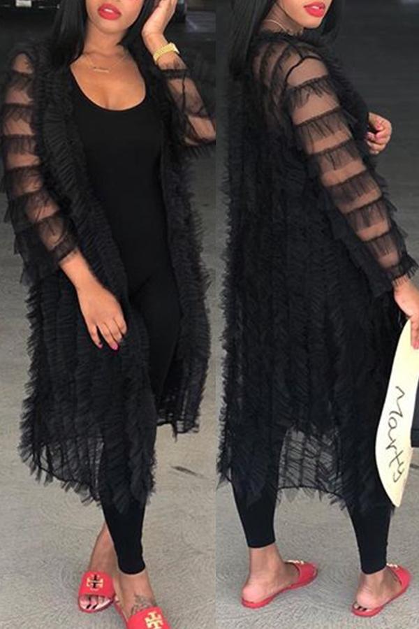 LovelySexy V Neck Net Yarn Flowers Black Polyester Long Coat(Only Coat)