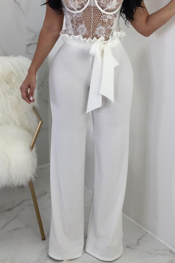 Симпатичный Модный Средний Талия Белый Хлопок Смешивания Zipped Брюки (с Поясом)