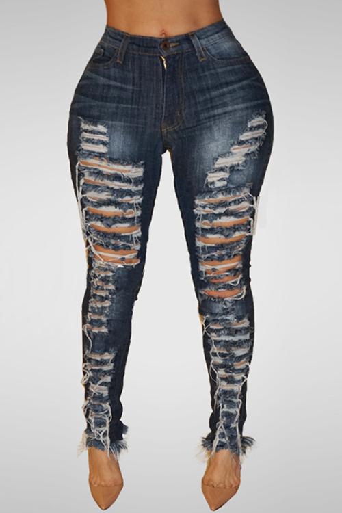 Lovely Trendy High Waist Broken Holes Dark Blue Denim Pants