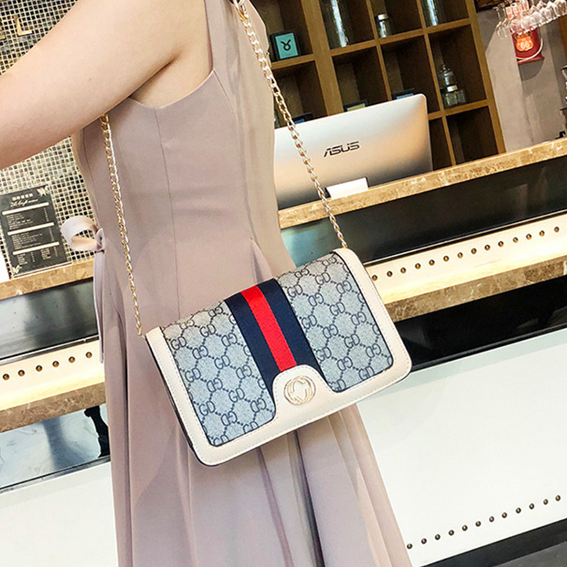 Lovely Women Patchwork White PU Crossbody Bag