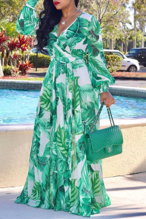 Dresses Lovely Bohemian V Neck Long Sleeves Floral Printed Green Chiffon Floor Length Dress фото