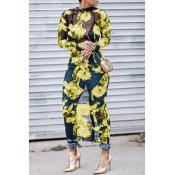 Schöne Sexy Rundhalsausschnitt Durchsichtig Floral Bedruckt Gelb Polyester Mitte Wadenkleid (nicht Positionierung Druck)