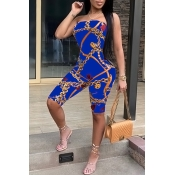 Lovely Sexy Dew Shoulder Chain Printed Blue Polyester One-piece Short Jumpsuits
